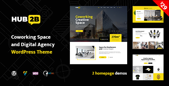 Hub2B - Coworking Space and Digital Agency WordPress Theme Download